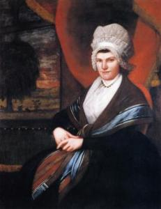 1798 portrait of Mrs. Dewey with high poufed cap and laced edges.