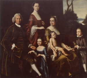 portrait of the Gordon Family by Henry Benbridge, 1862. Mrs. Gordon wears a round-eared cap.