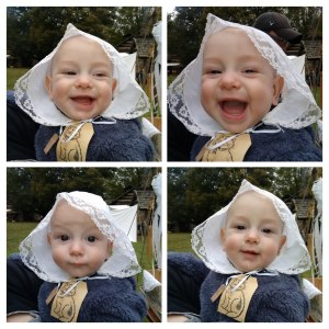 4-cut picture of baby in repro cap, laughing.