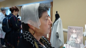 Modern woman in reproduction of this 18th c cap: it fits!