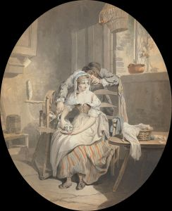 A man hovers over a women in a chair feeding her cat. Her cap and her neckerchief are loose.
