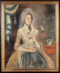 Portrait painted by Reuben Moulthorp of woman in colorful gown with cap of layers of lace piled hig.