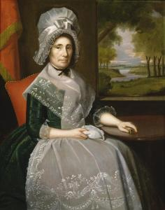 Mrs. Alsop's cap has the standing call and falling ruffles of the Corday style.